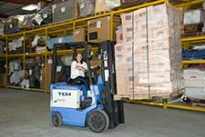 forklift operator at hardpack storage facility